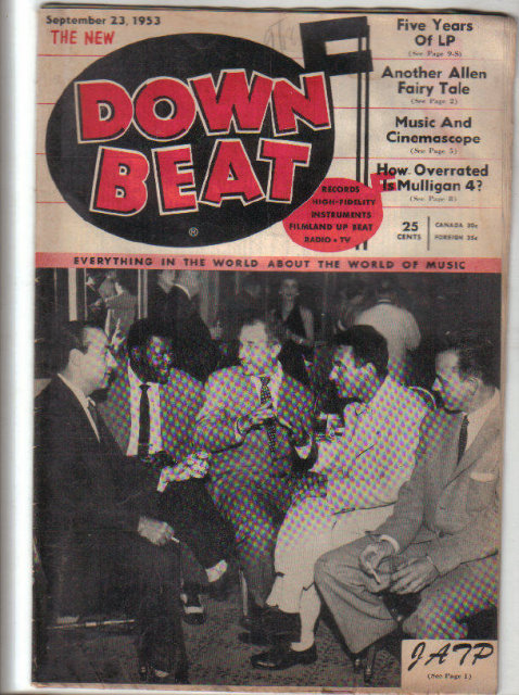 Down Beat Magazine 9/23/53 Tiny Kahn, Shorty Rogers, Jack Smith, Bix Beiderbecke