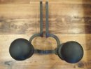 Cast Iron Andirons Simple Ball Tops Fireplace Firedog Stands