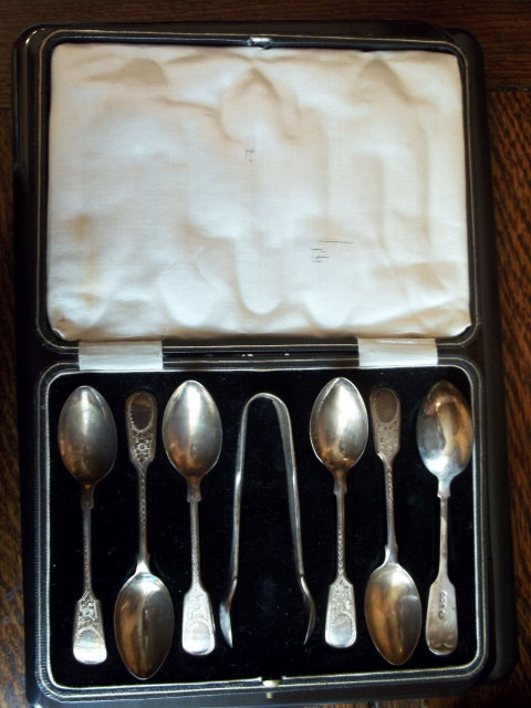Vintage Silver Condiment Set in Box