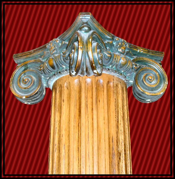 Oak Fluted Columns with Ionic Capitals