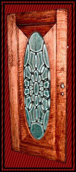 Oak Leaded Beveled Glass Door