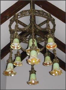 Brass Chandelier w/ Art Glass Shades