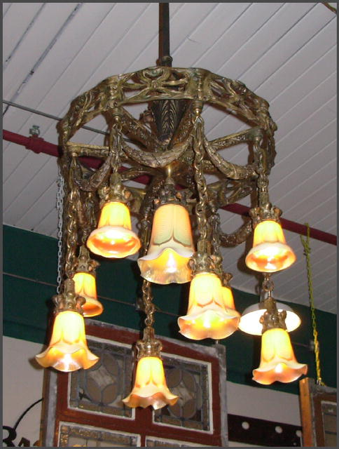 Brass Chandelier w/ Art Glass Shades