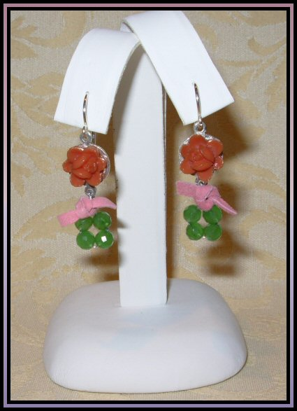 Coral & Quartz Earrings
