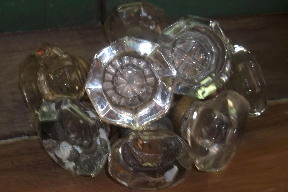 Pair of Vintage 8-Sided Glass Door Knobs