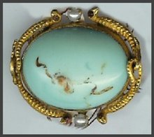 Turquoise & Seed Pearl Pin