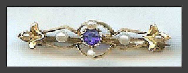 Sapphire & Seed Pearl Pin