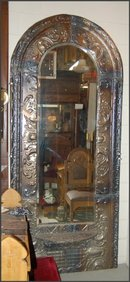 Tin Framed Mirror with Beveled Glass