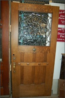 Oak Arts & Crafts Door w/leaded glass