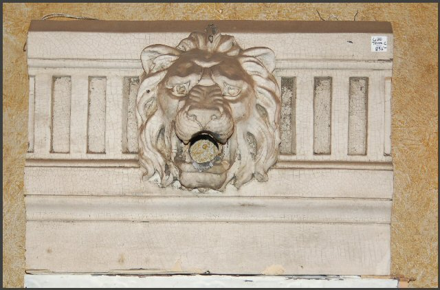 Terra Cotta Lion Head Flag Pole Holder
