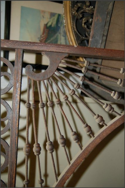 Oak Fretwork with high arch. Scrollwork, balls and spindles