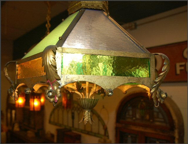 Octagonal Pendant Light w/Colored Glass