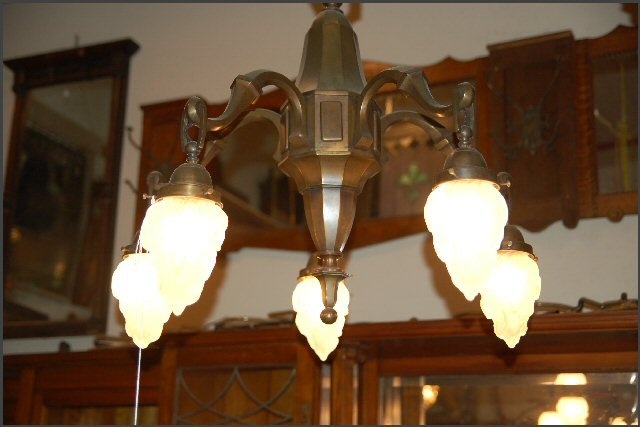 Five Light Chandelier w/ Torch Globes