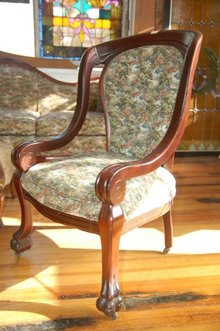 Chair, Mahogany with Floral Print