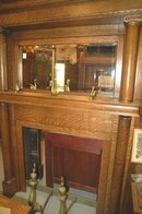 Oak Mantel w/ Beveled Mirror