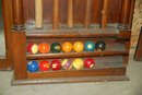 Large Walnut Billiard Cue and Ball Rack