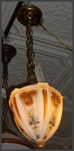 Hanging Pendant Light w Reverse Painted Shade