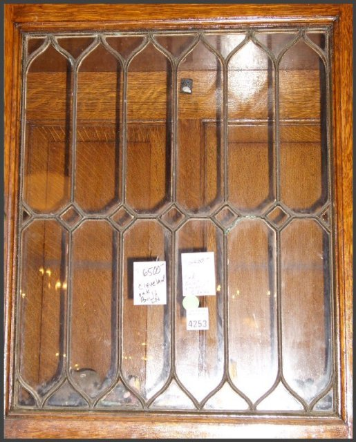 Vintage Oak Built-In w/ Leaded Glass Doors