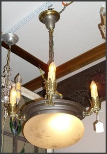 Vintage Chandelier with Etched Glass Globe