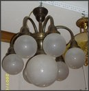Brass Chandelier w/ 7 White Glass Globes