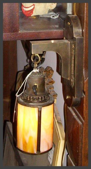Brass Sconce w/ Slag Glass Shade