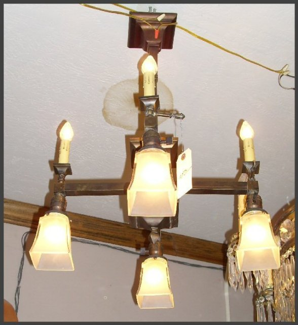Arts & Crafts Brass Chandelier