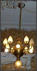 Unusual Brass Chandelier w/ Flame Shades
