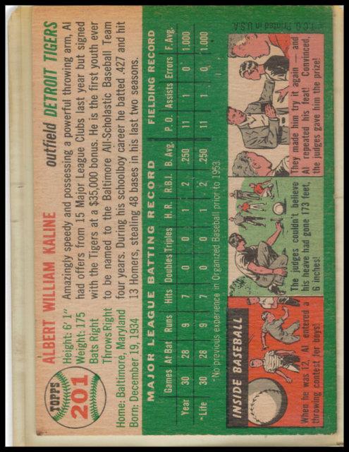 Al Kaline 1954 Topps Baseball Card