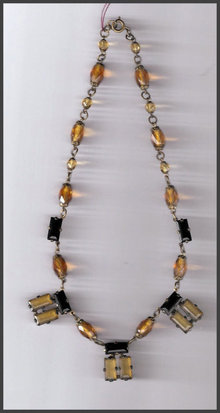 Nice Vintage Brass and Glass Necklace