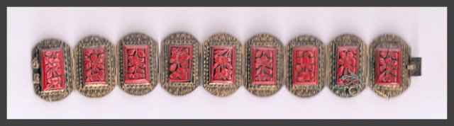 Great Old Cinnabar & Sterling Bracelet
