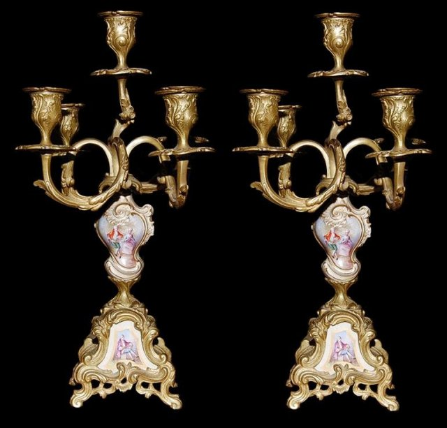 Pair Sevres Style Candelabra
