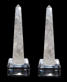 Pair Rock Crystal Obelisks