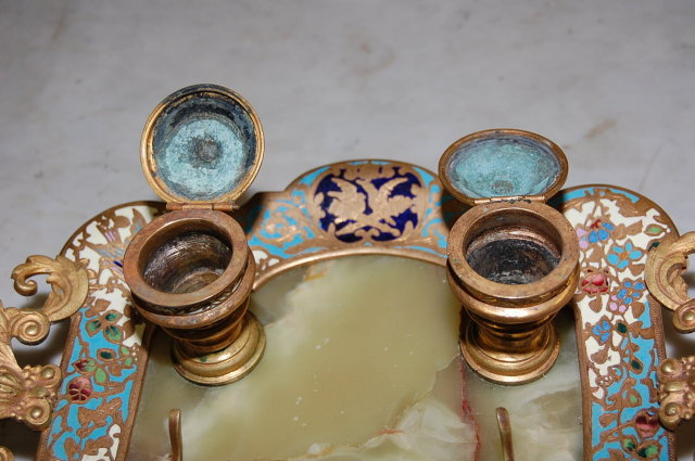 French Gilt Bronze Onyx & Champleve Ink Well