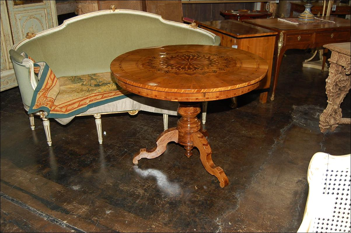 Northern Italian Inlaid Pedestal Table