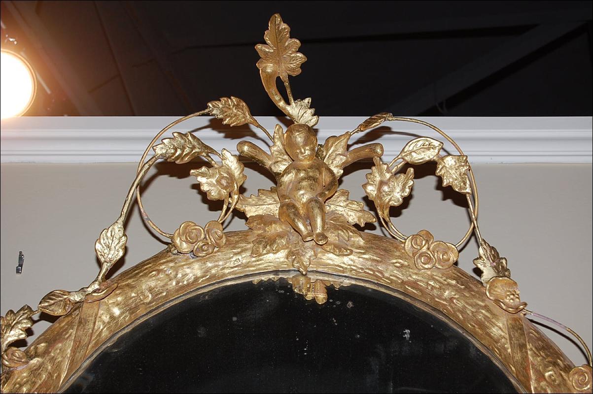 French Oval Cherub Mirror