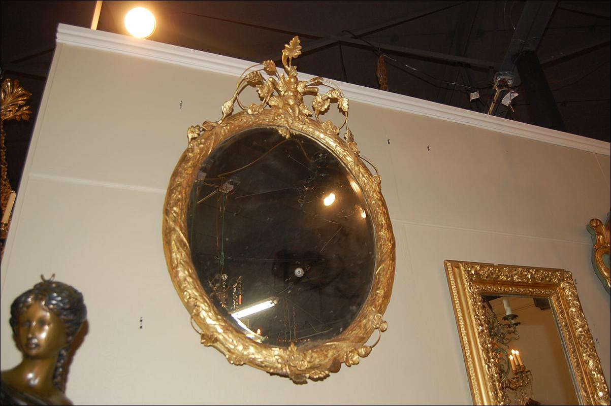 French Oval Cherub Mirror