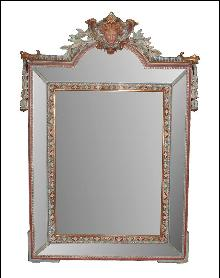 Italian Carved & Painted Mirror