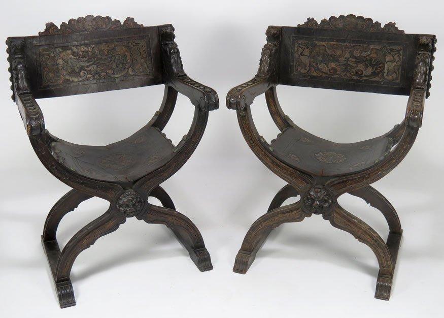 Pair Italian Savonarola Chairs