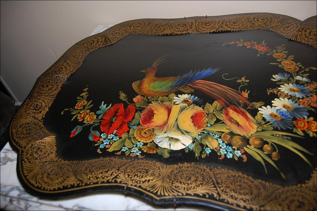 Pair Continental Hand Painted Tole Trays