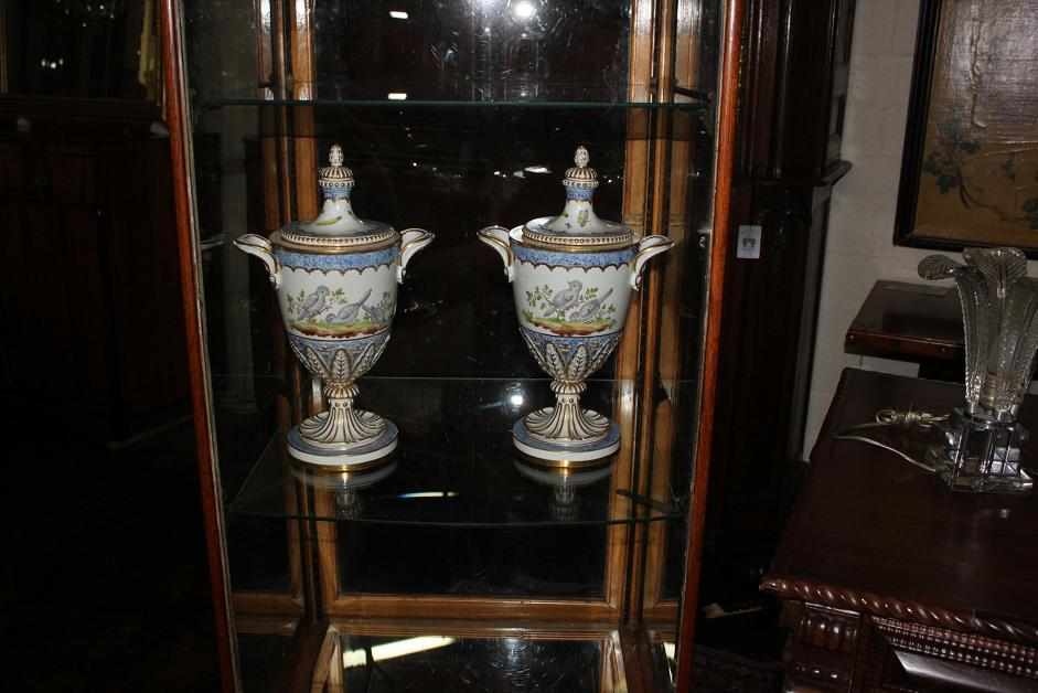 Pair French Porcelain Covered Urns