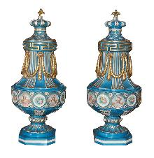 Large Pair Sevres Style Urns