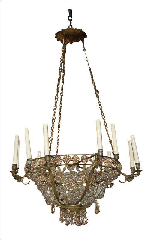 French Crystal Basket Chandelier