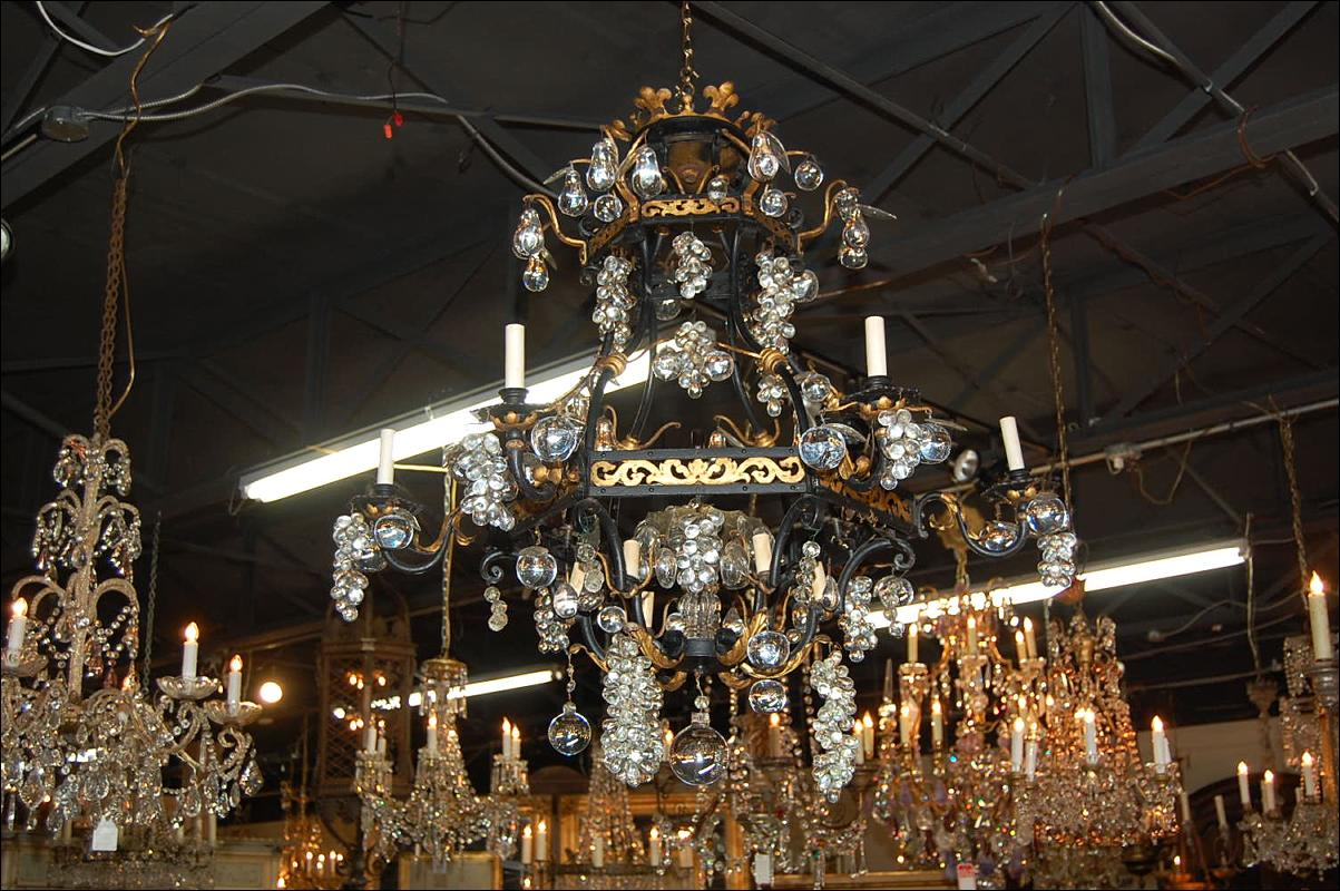 Continental Iron & Crystal Chandelier
