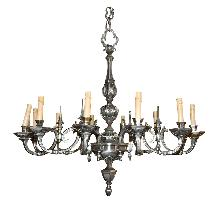 Continental Silvered Bronze Chandelier