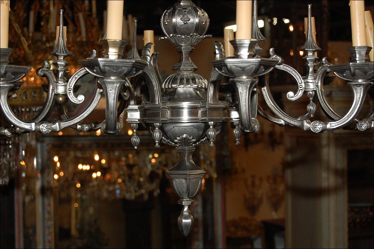 Continental Silvered Bronze Chandelier