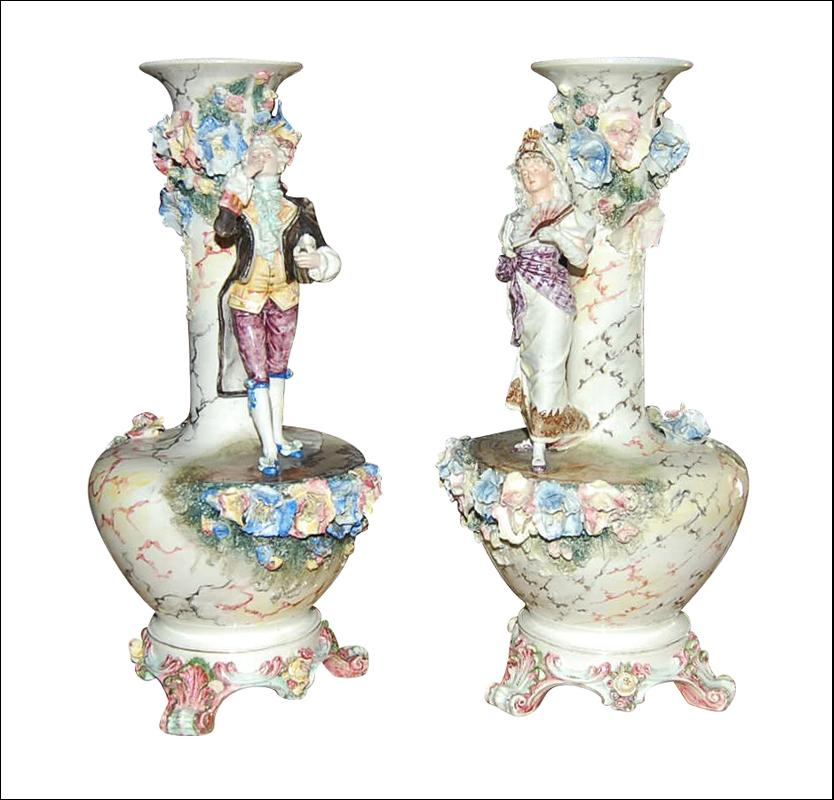 Pair French Majolica Vases