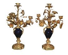 Pair French Dore Bronze & Cobalt Candelabra