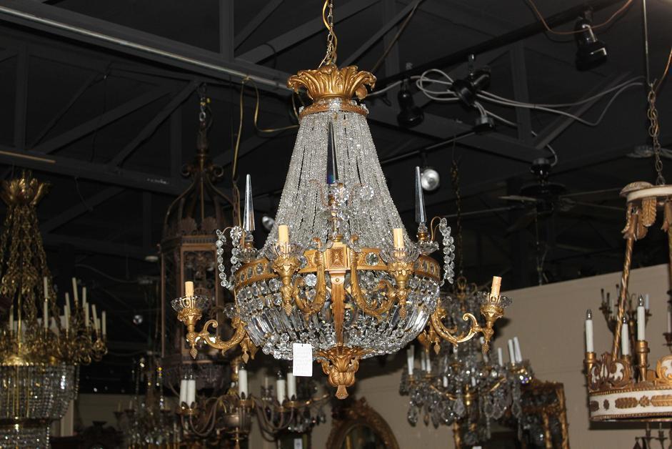 Continental Bronze & Crystal Chandelier
