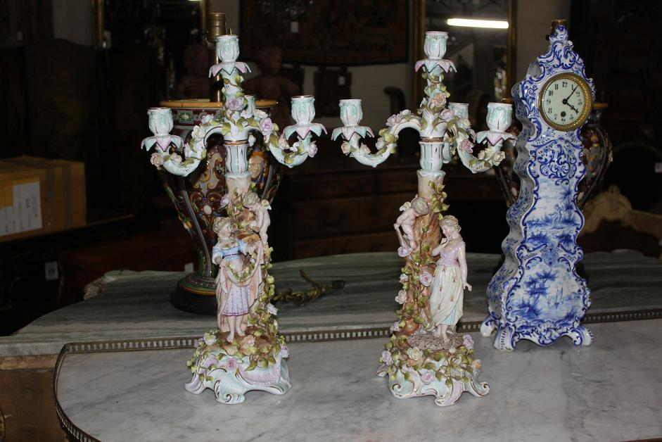 Pair of Sitzendorf German Porcelain Candelabra
