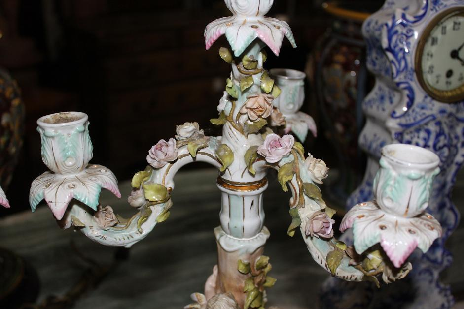 Pair of Sitzendorf German Porcelain Candelabra